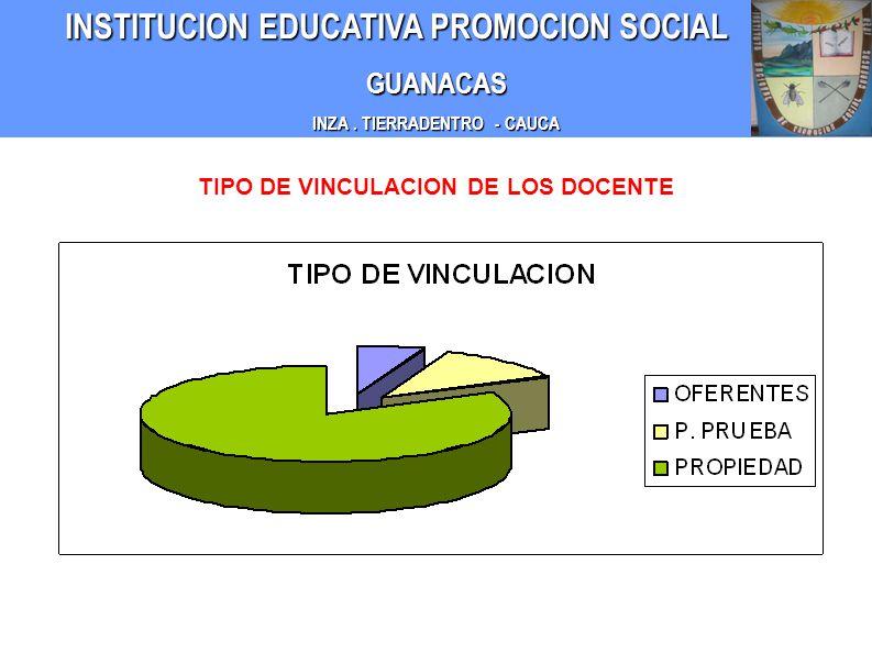 INZA . TIERRADENTRO - CAUCA TIPO DE VINCULACION DE LOS DOCENTE