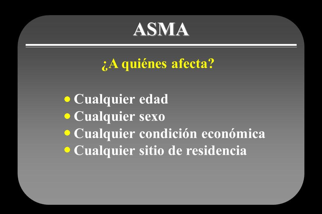 ASMA ¿A quiénes afecta Cualquier edad Cualquier sexo