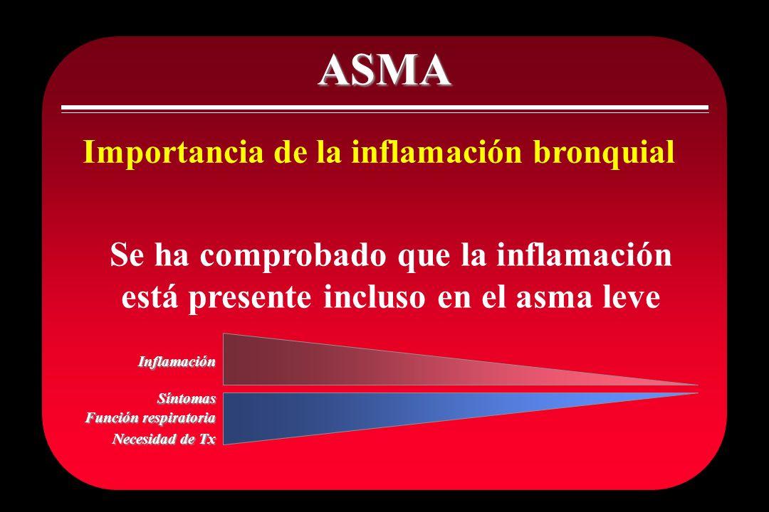 ASMA Importancia de la inflamación bronquial. Se ha comprobado que la inflamación está presente incluso en el asma leve.