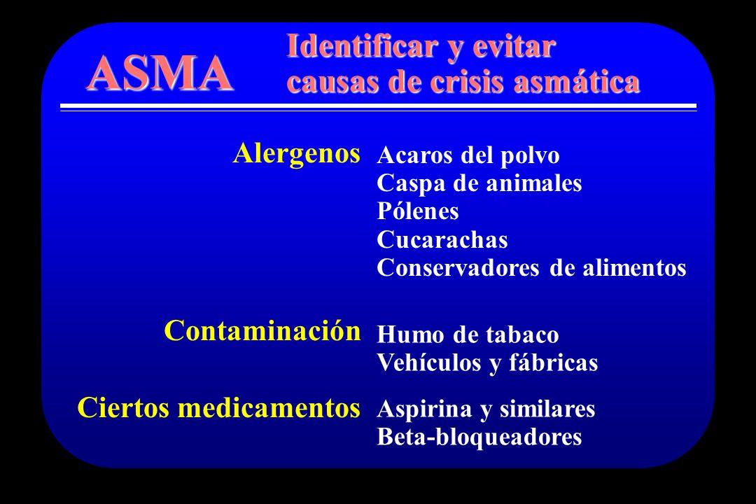 ASMA Identificar y evitar causas de crisis asmática Alergenos