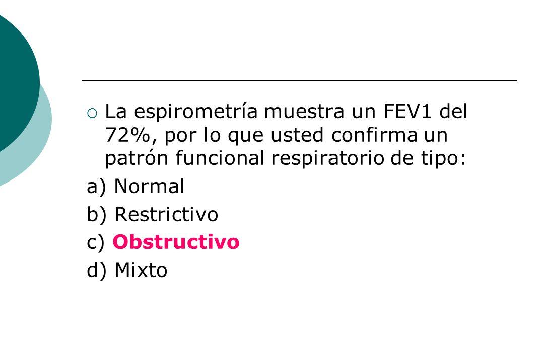 La espirometría muestra un FEV1 del 72%, por lo que usted confirma un patrón funcional respiratorio de tipo: