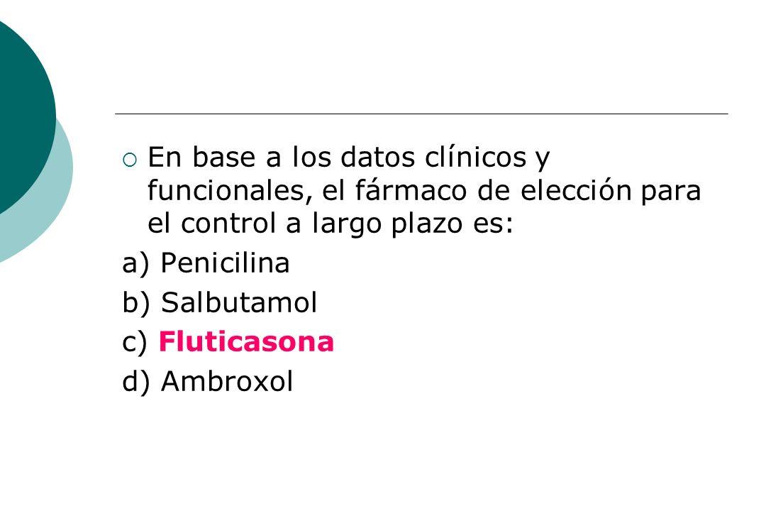 En base a los datos clínicos y funcionales, el fármaco de elección para el control a largo plazo es: