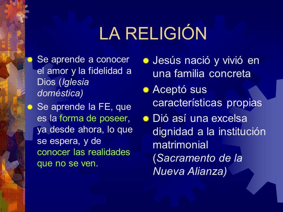 LA RELIGIÓN Jesús nació y vivió en una familia concreta