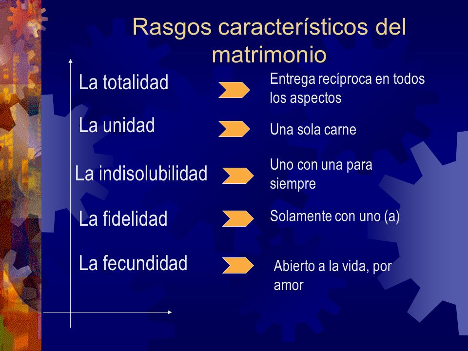 Rasgos característicos del matrimonio