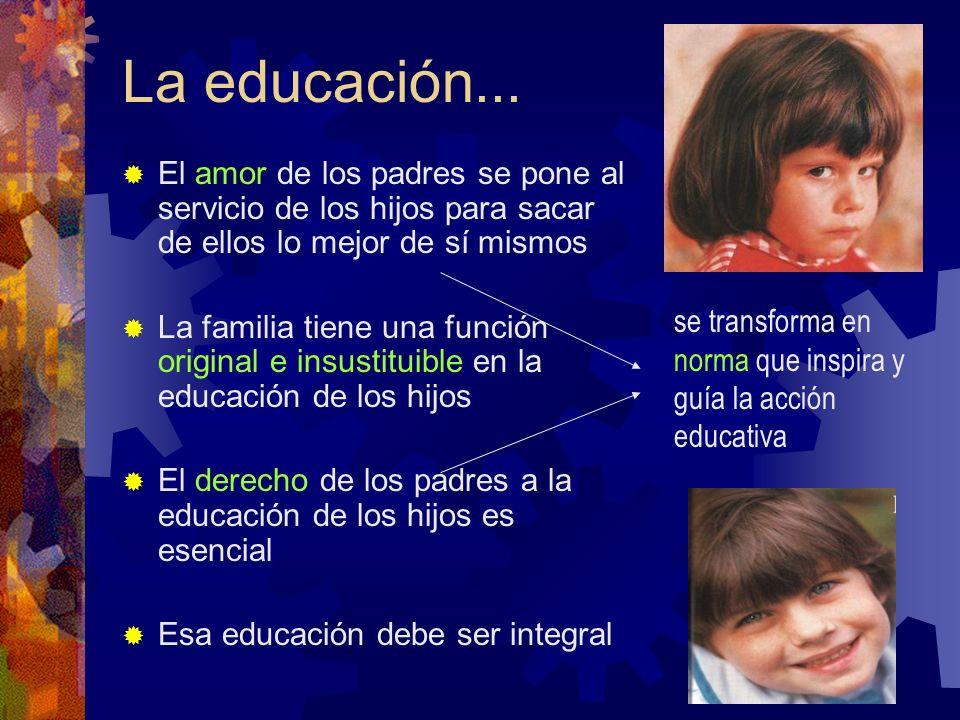 La educación... El amor de los padres se pone al servicio de los hijos para sacar de ellos lo mejor de sí mismos.