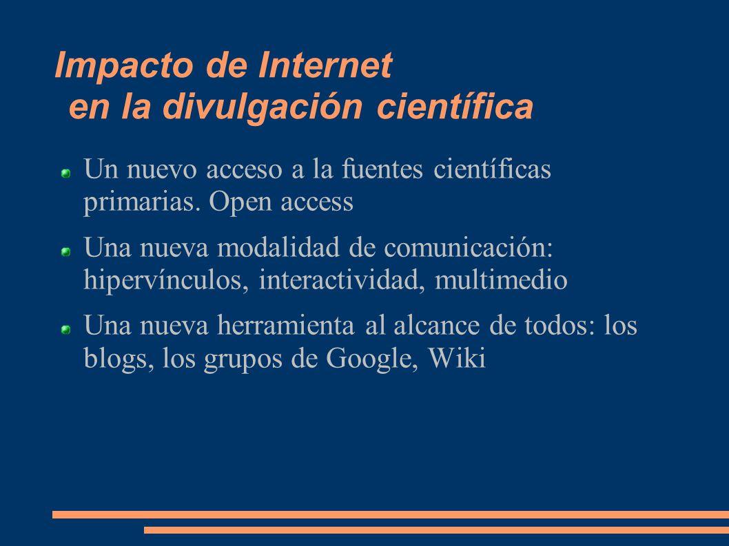 Impacto de Internet en la divulgación científica