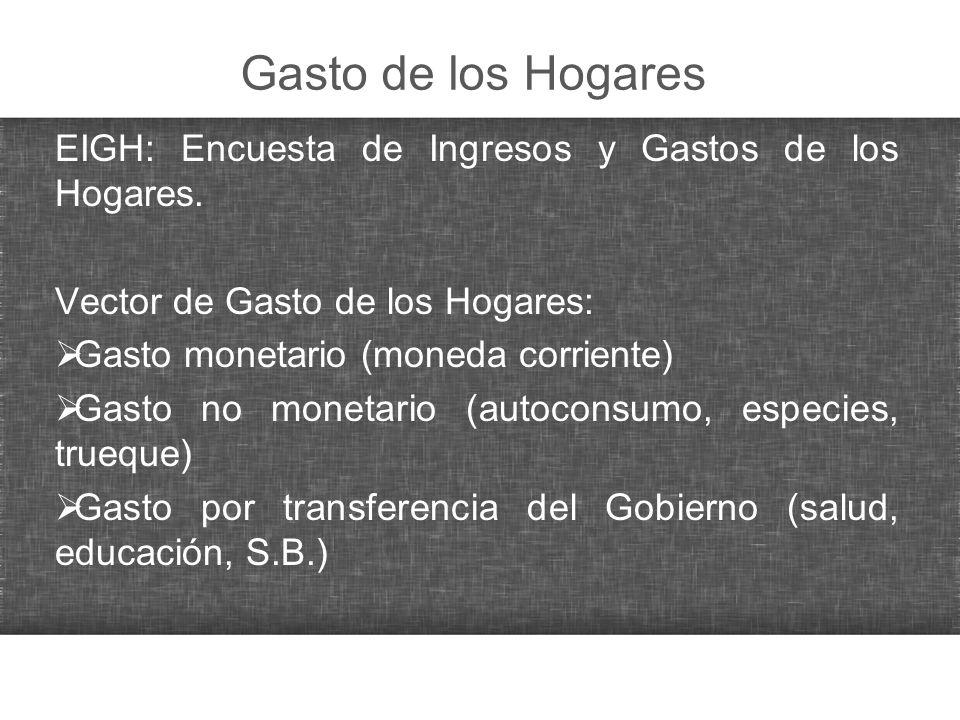 Gasto de los Hogares EIGH: Encuesta de Ingresos y Gastos de los Hogares. Vector de Gasto de los Hogares: