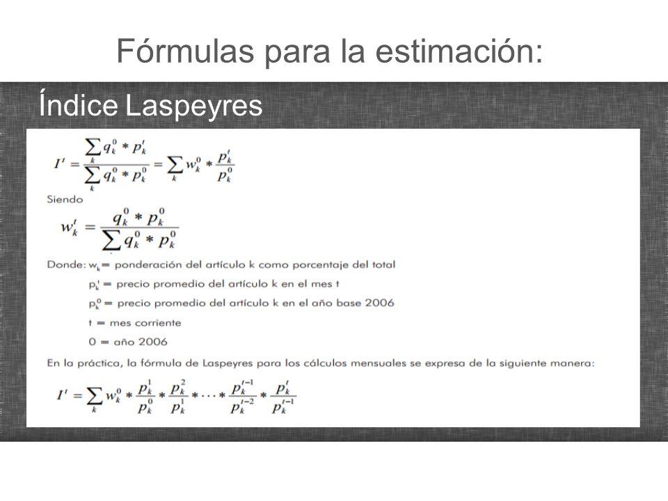 Fórmulas para la estimación: