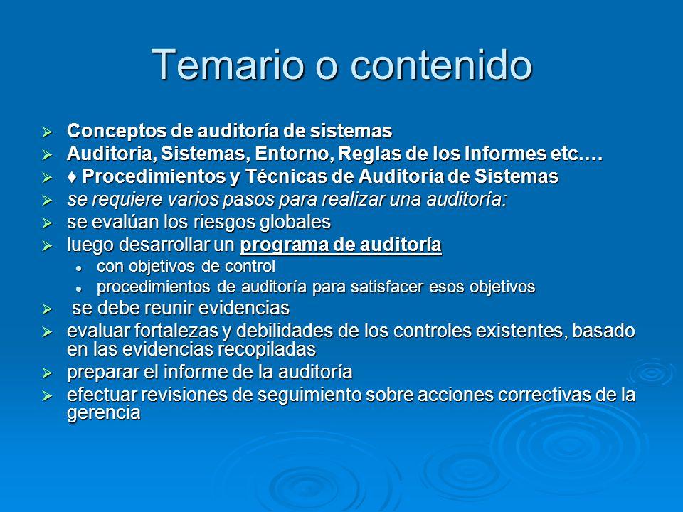 Temario o contenido Conceptos de auditoría de sistemas