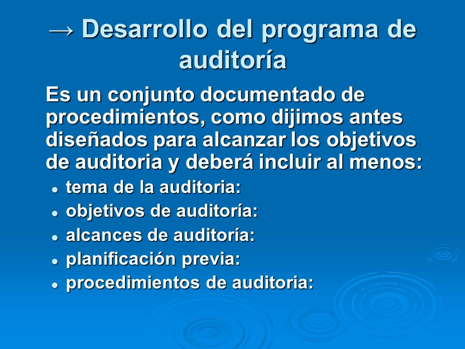 → Desarrollo del programa de auditoría