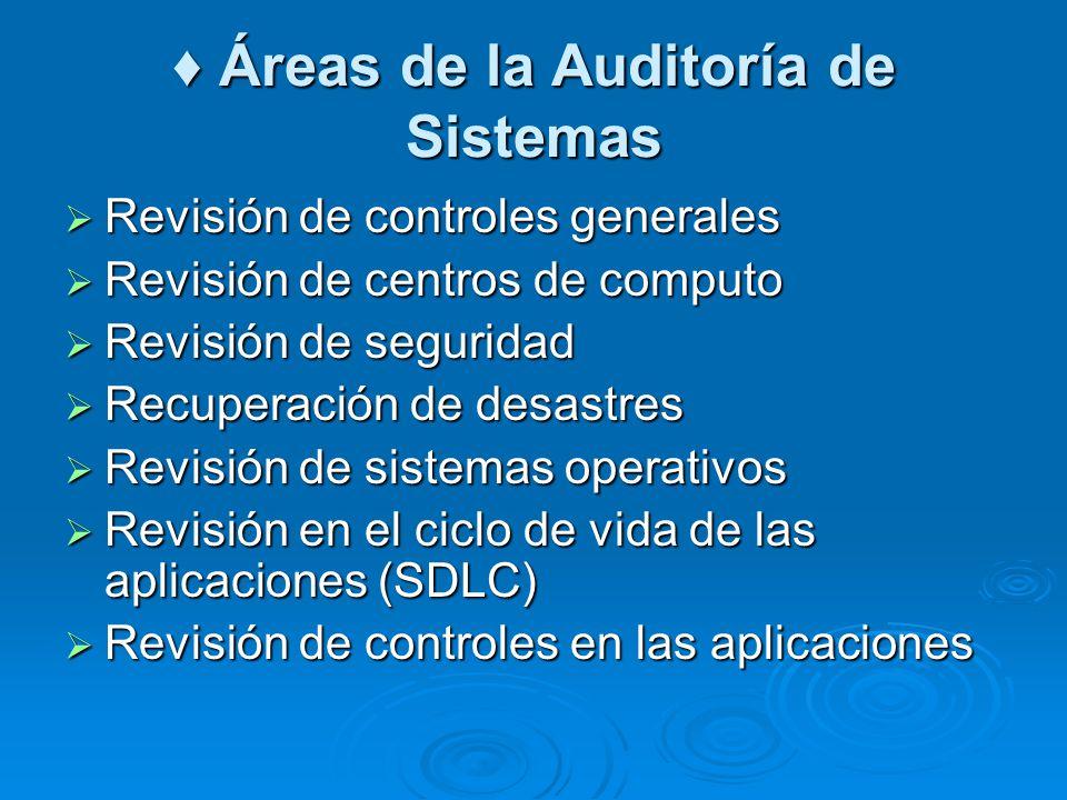 ♦ Áreas de la Auditoría de Sistemas
