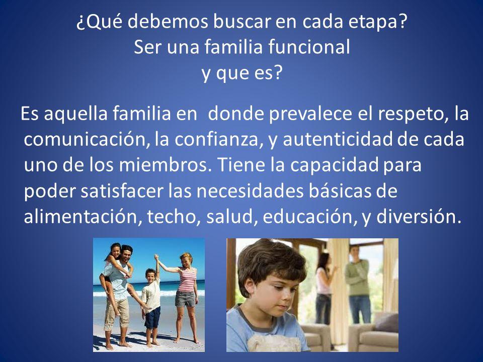 ¿Qué debemos buscar en cada etapa Ser una familia funcional y que es