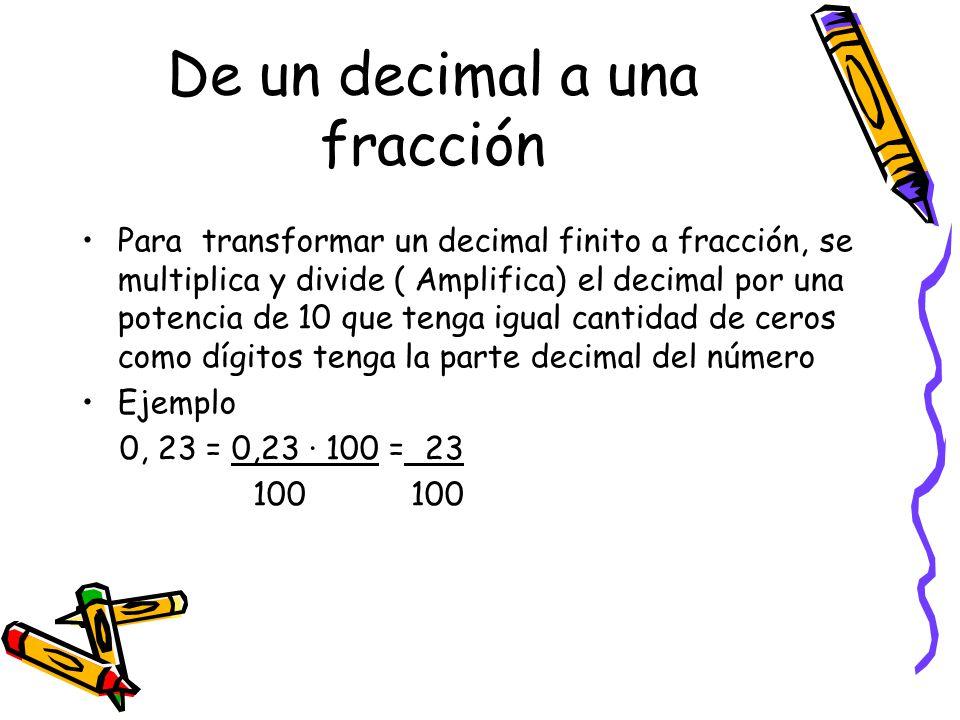 De un decimal a una fracción