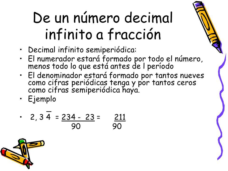 De un número decimal infinito a fracción