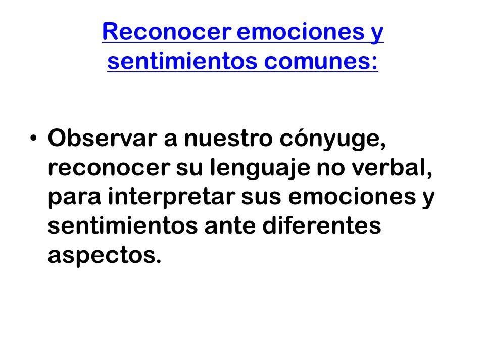 Reconocer emociones y sentimientos comunes: