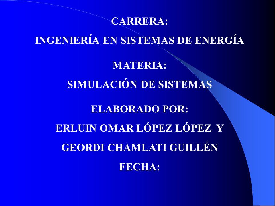 INGENIERÍA EN SISTEMAS DE ENERGÍA MATERIA: SIMULACIÓN DE SISTEMAS