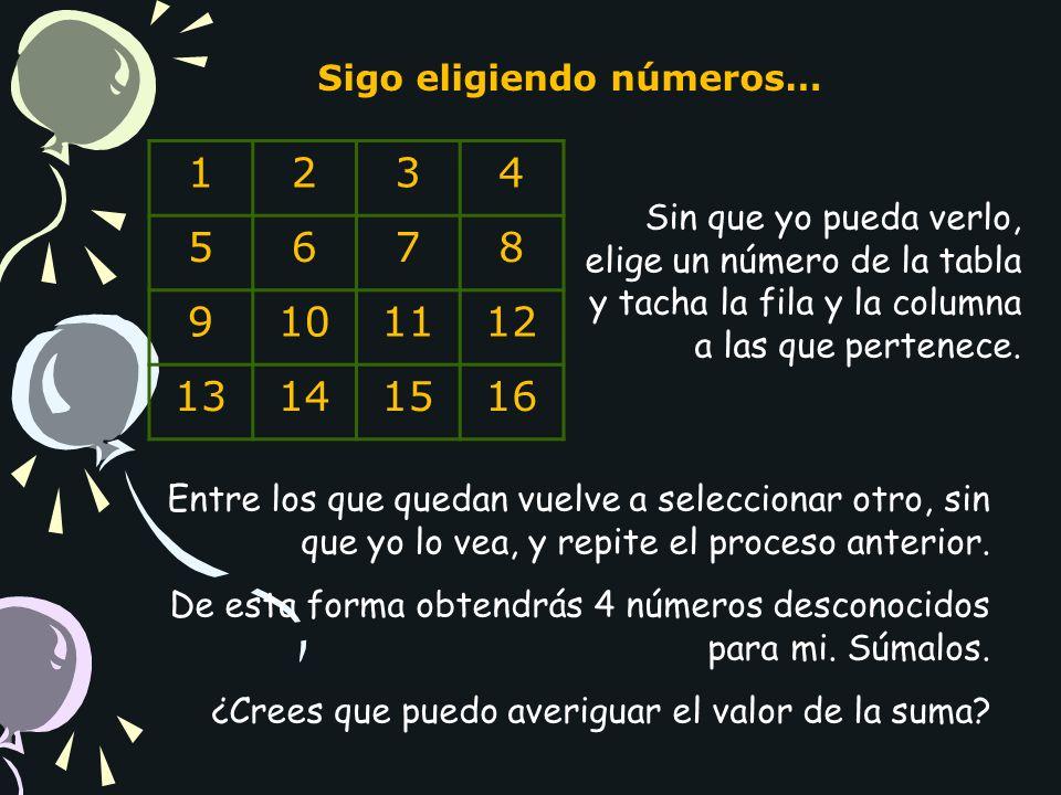 1 2 3 4 5 6 7 8 9 10 11 12 13 14 15 16 Sigo eligiendo números…