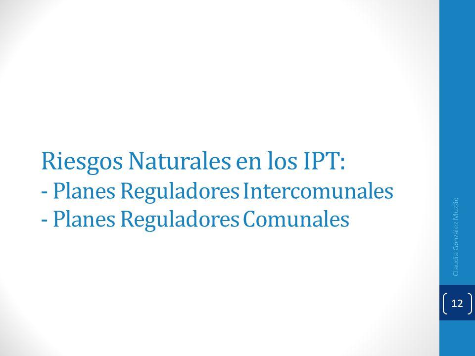 Riesgos Naturales en los IPT: - Planes Reguladores Intercomunales - Planes Reguladores Comunales
