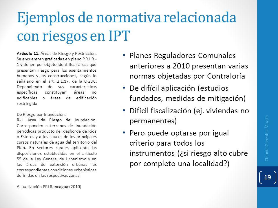 Ejemplos de normativa relacionada con riesgos en IPT