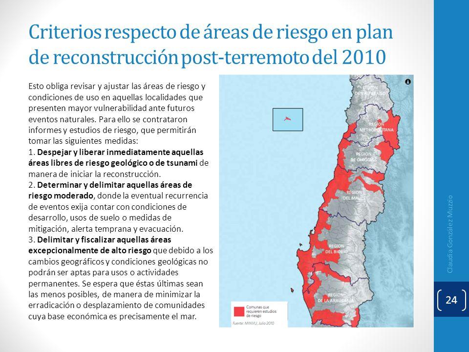 Criterios respecto de áreas de riesgo en plan de reconstrucción post-terremoto del 2010