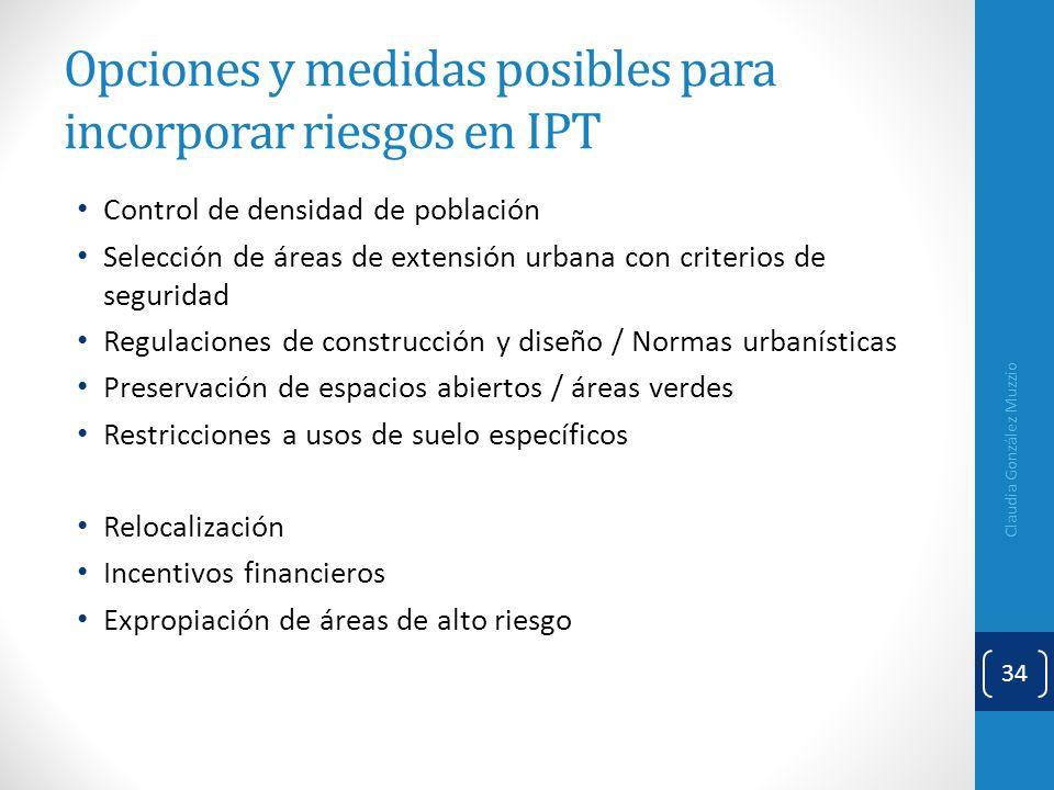 Opciones y medidas posibles para incorporar riesgos en IPT