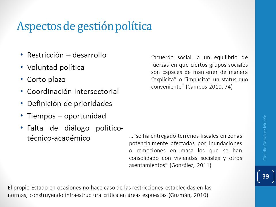 Aspectos de gestión política