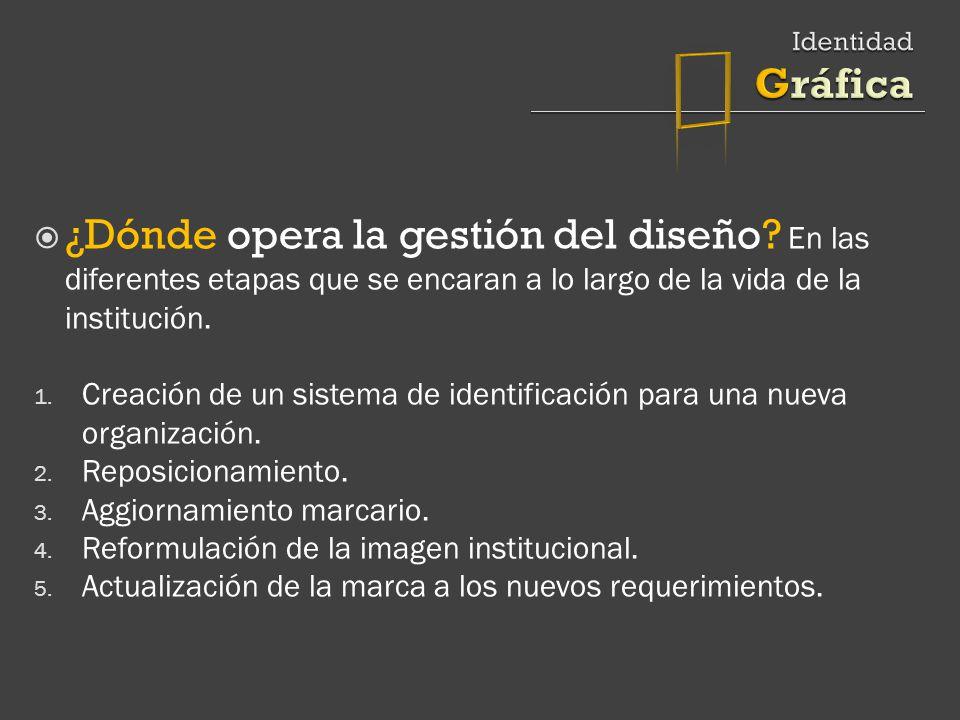  Identidad Gráfica. ¿Dónde opera la gestión del diseño En las diferentes etapas que se encaran a lo largo de la vida de la institución.
