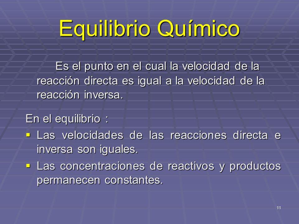 Equilibrio Químico Es el punto en el cual la velocidad de la reacción directa es igual a la velocidad de la reacción inversa.