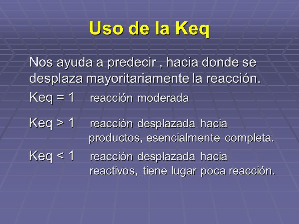 Uso de la Keq Nos ayuda a predecir , hacia donde se desplaza mayoritariamente la reacción. Keq = 1 reacción moderada.