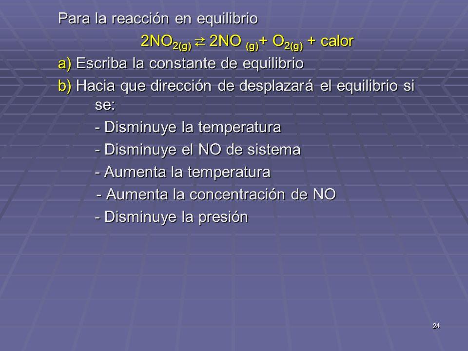 2NO2(g) ⇄ 2NO (g)+ O2(g) + calor