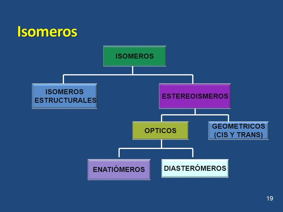 Isomeros ISOMEROS ISOMEROS ESTEREOISMEROS ESTRUCTURALES GEOMETRICOS