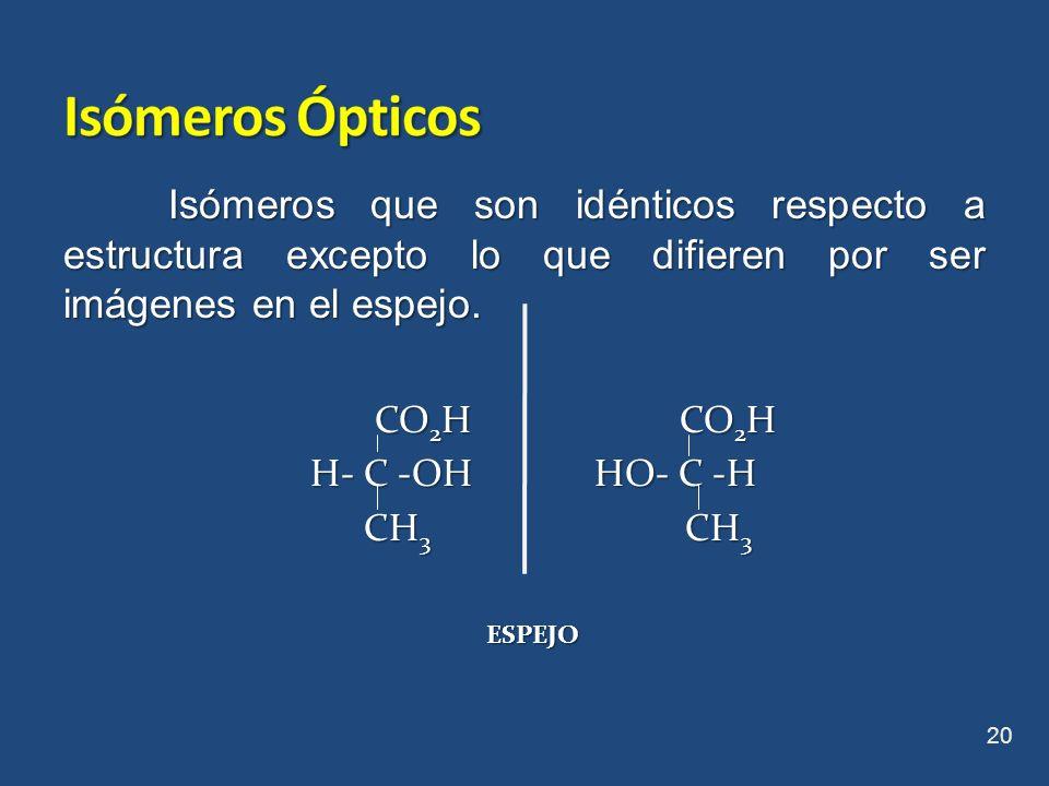 Isómeros ÓpticosIsómeros que son idénticos respecto a estructura excepto lo que difieren por ser imágenes en el espejo.