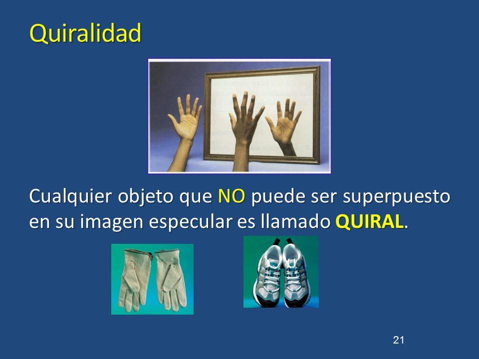 Quiralidad Cualquier objeto que NO puede ser superpuesto en su imagen especular es llamado QUIRAL.