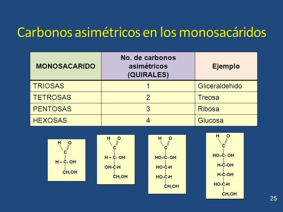 Carbonos asimétricos en los monosacáridos