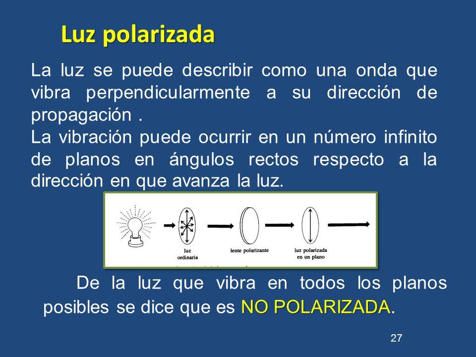 Luz polarizadaLa luz se puede describir como una onda que vibra perpendicularmente a su dirección de propagación .