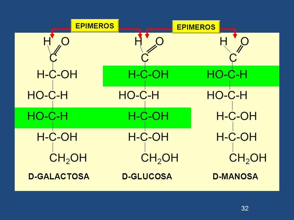 H O C H O H-C-OH HO-C-H CH2OH D-GALACTOSA D-GLUCOSA D-MANOSA EPIMEROS