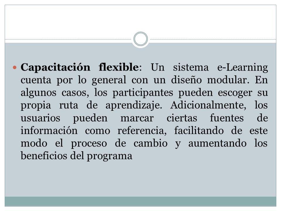 Capacitación flexible: Un sistema e-Learning cuenta por lo general con un diseño modular.
