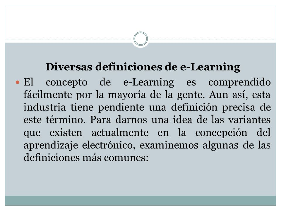 Diversas definiciones de e-Learning