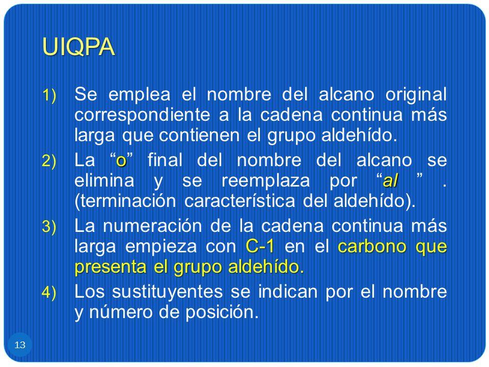UIQPA Se emplea el nombre del alcano original correspondiente a la cadena continua más larga que contienen el grupo aldehído.