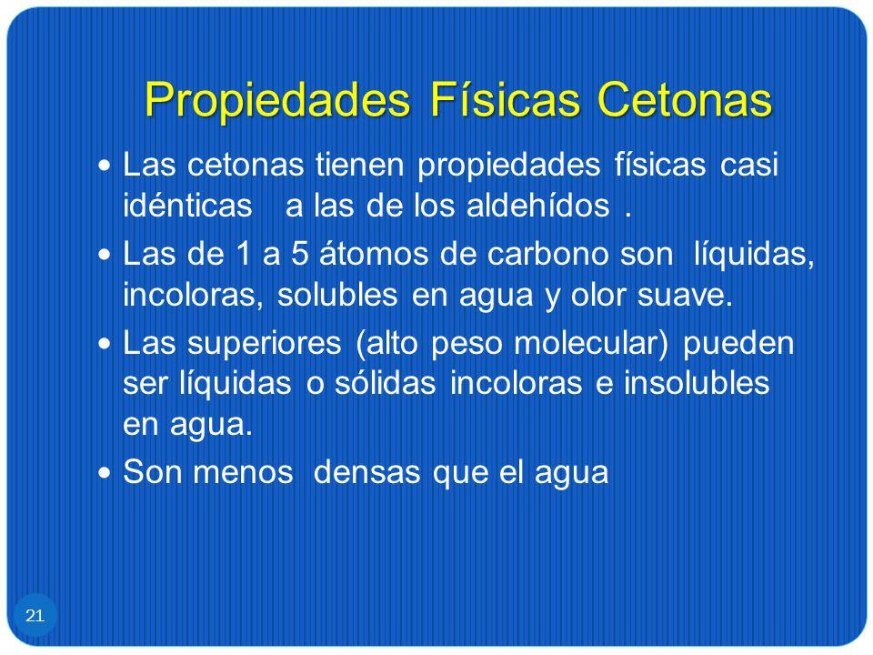 Propiedades Físicas Cetonas