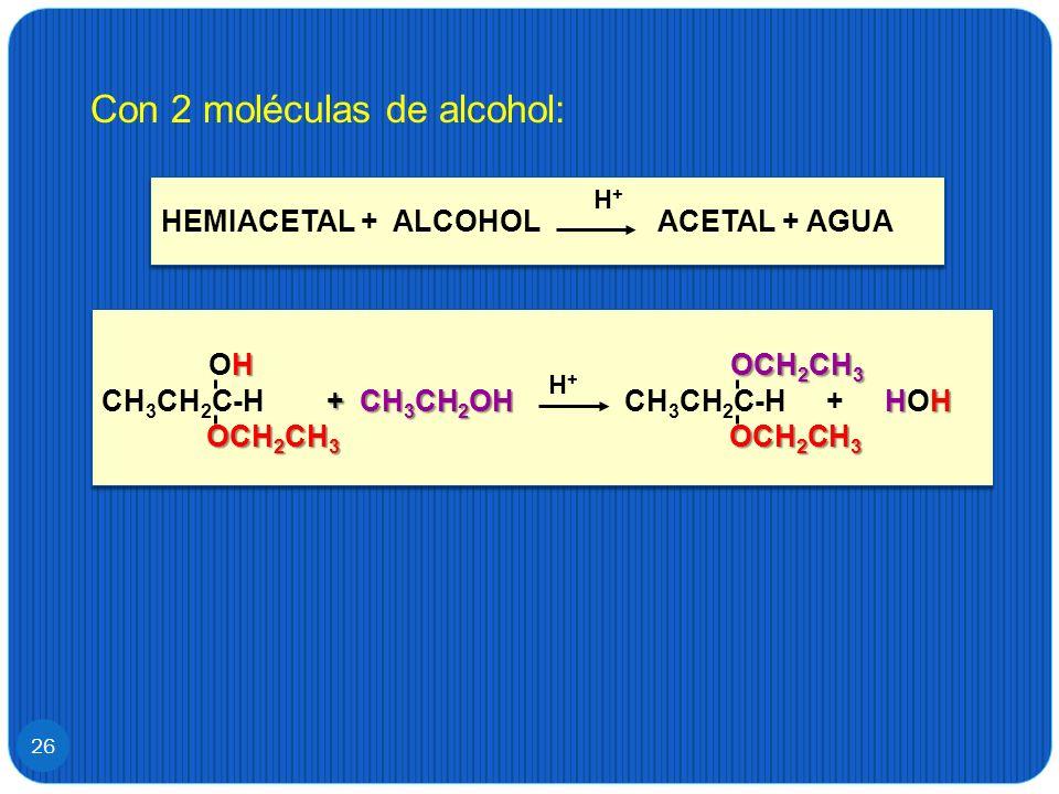 Con 2 moléculas de alcohol: