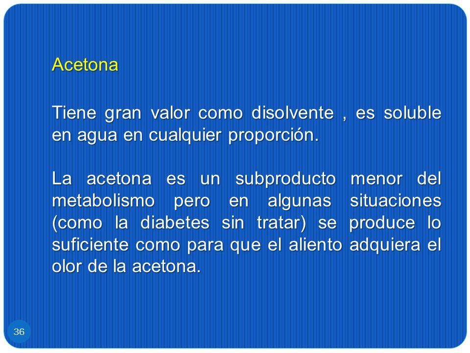 Acetona Tiene gran valor como disolvente , es soluble en agua en cualquier proporción.