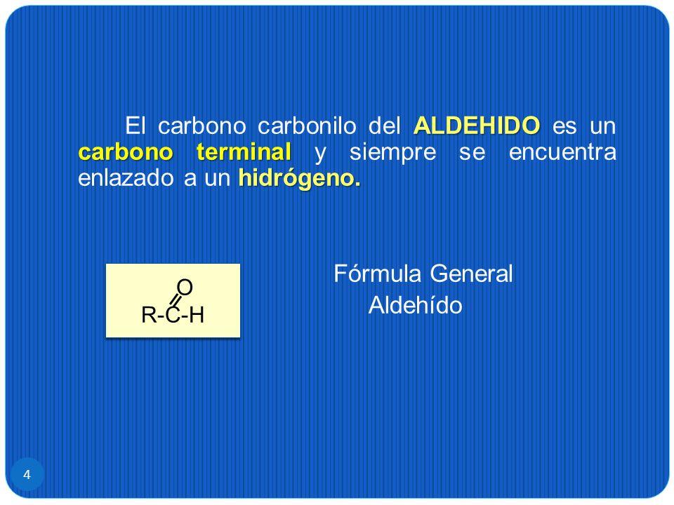 El carbono carbonilo del ALDEHIDO es un carbono terminal y siempre se encuentra enlazado a un hidrógeno.