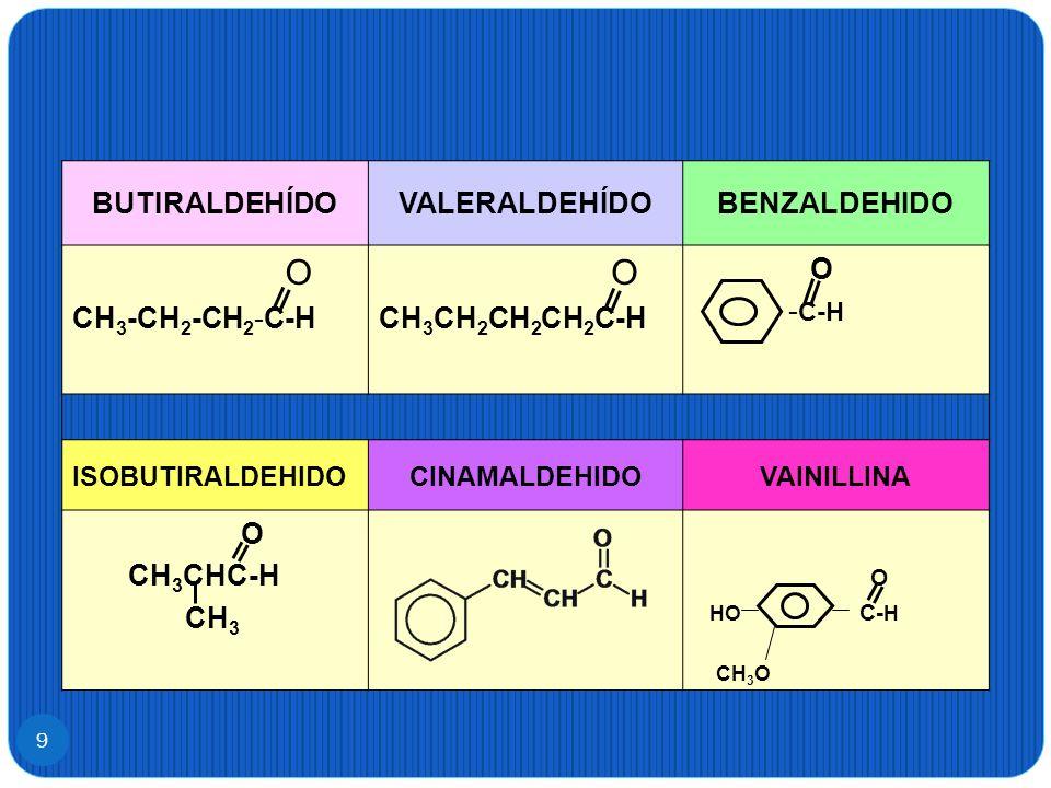 O BUTIRALDEHÍDO VALERALDEHÍDO BENZALDEHIDO CH3-CH2-CH2-C-H