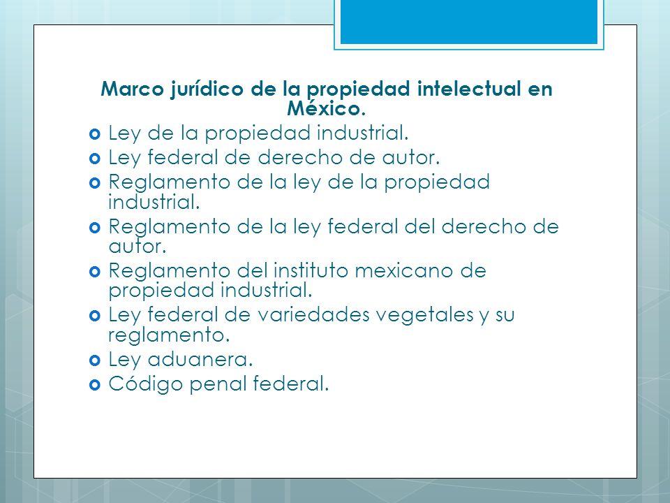 Marco jurídico de la propiedad intelectual en México.
