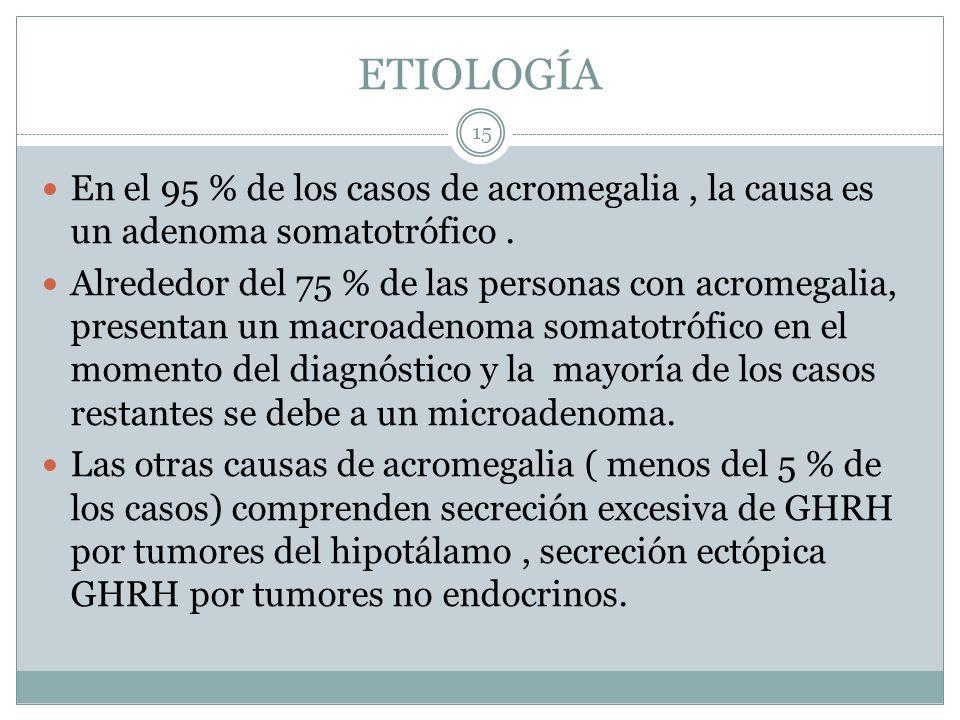 ETIOLOGÍA En el 95 % de los casos de acromegalia , la causa es un adenoma somatotrófico .