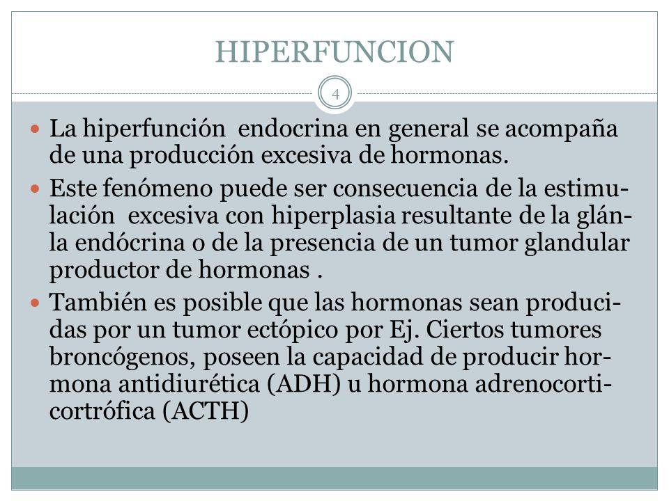 HIPERFUNCION La hiperfunción endocrina en general se acompaña de una producción excesiva de hormonas.
