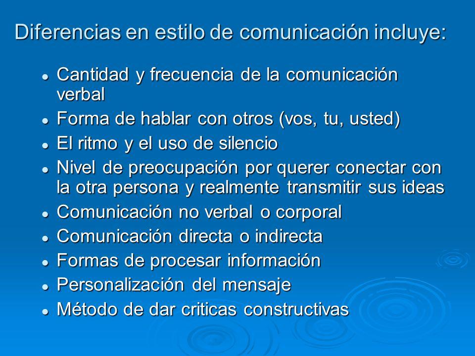 Diferencias en estilo de comunicación incluye: