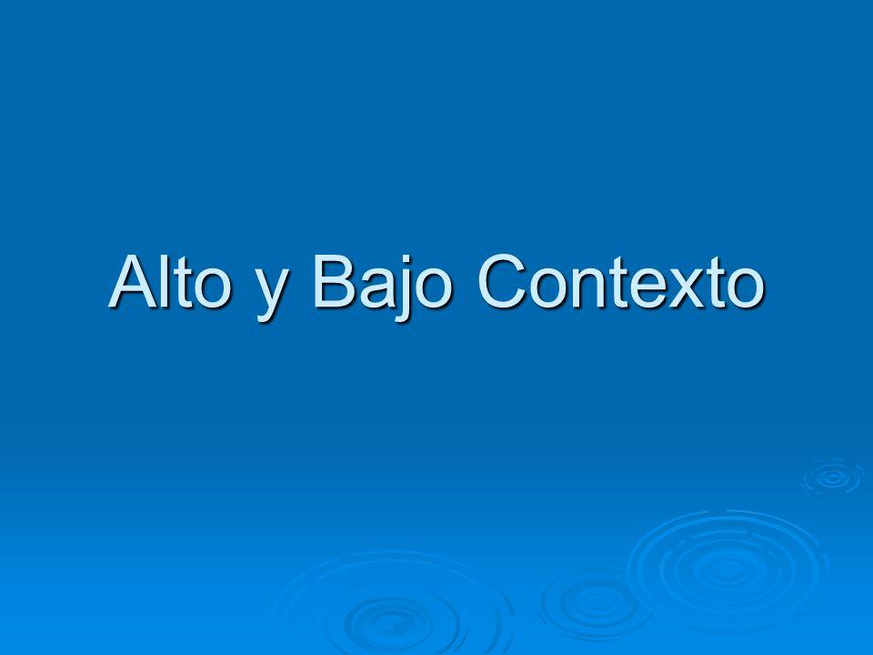 Alto y Bajo Contexto 10:55 – 11:10 Pasar el examen y el inventario