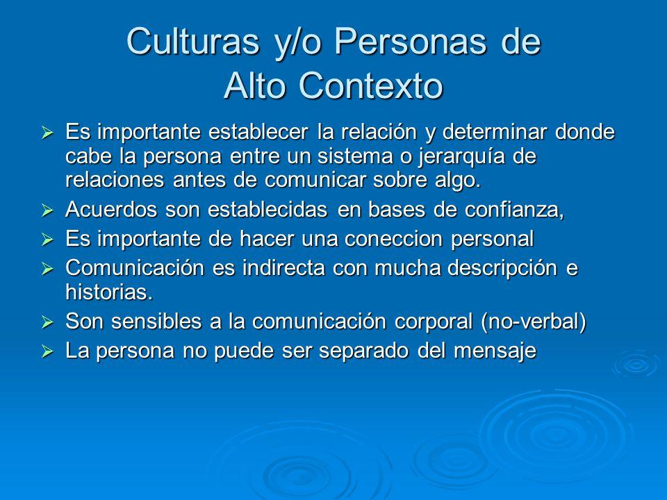 Culturas y/o Personas de Alto Contexto